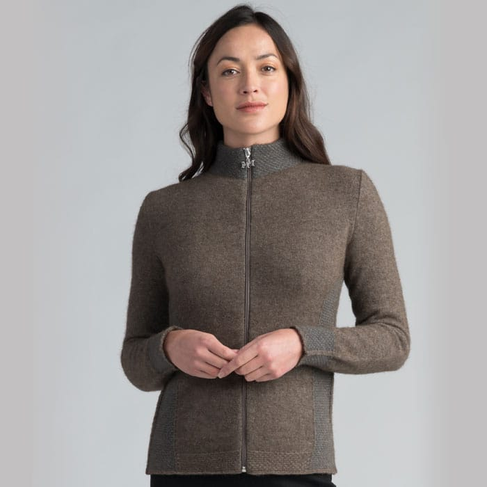 Possum Merino Mink Mt Cook Jacket in Pebble