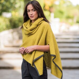 Possum Merino Two Tone Poncho in Golden Mist