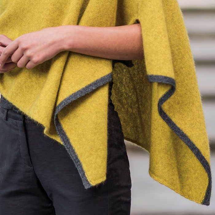 Possum Merino Two Tone Poncho in Golden Mist Detail