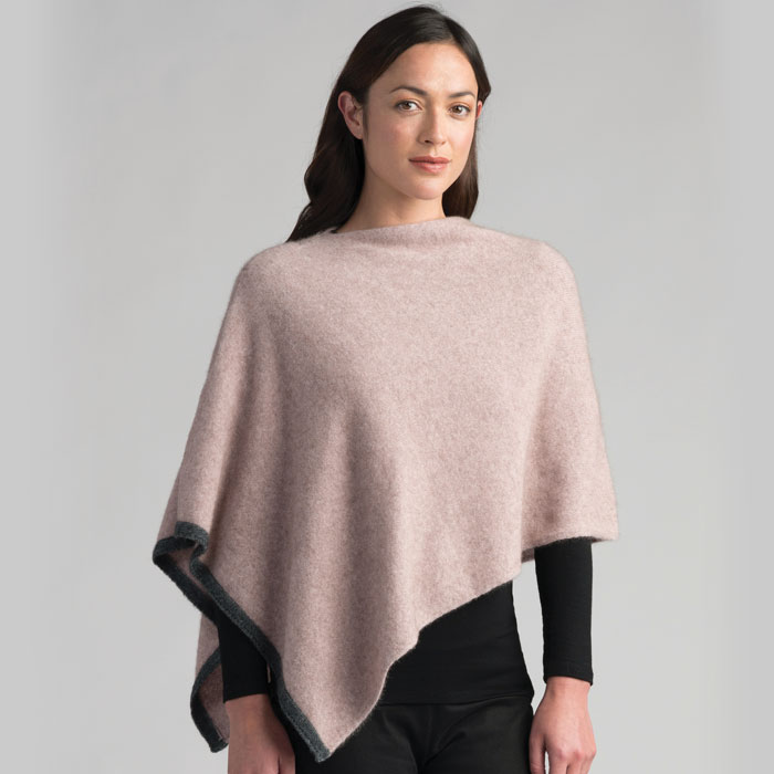 Possum Merino Two Tone Poncho in Wistful
