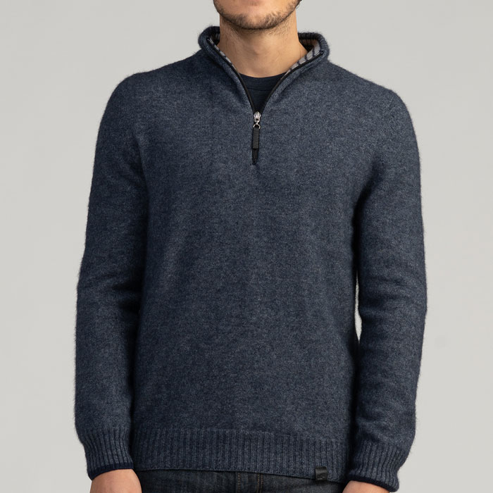 Merino Mink Half Zip with Stripes in River Front