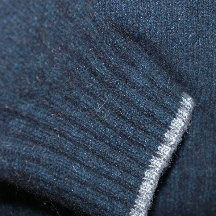Possum Merino Contrast Half zip in Peacock Cuff Detail