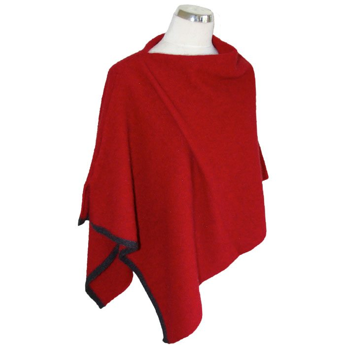 Possum Merino Two Tone Poncho in Brilliant Red
