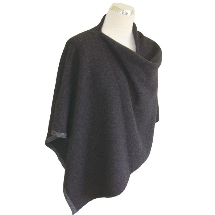 Possum Merino Two Tone Poncho in Graphite