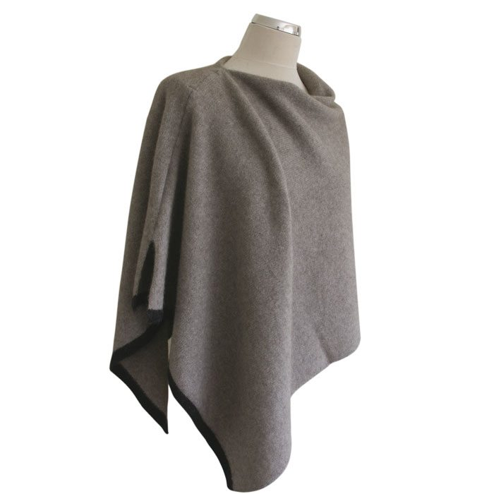 Possum Merino Two Tone Poncho in Stone