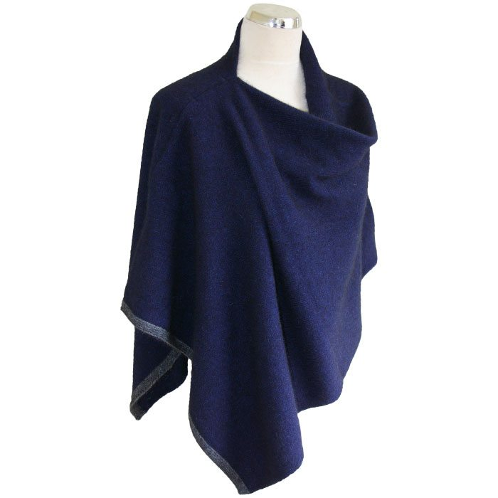 Possum Merino Two Tone Poncho in Zephyr Navy Blue