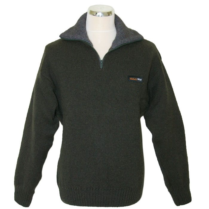 Possum Merino Mens Tasman Half Zip Jumper in Hunter Green