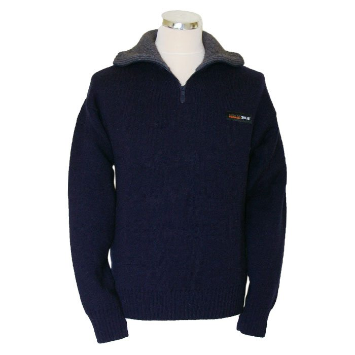 Possum Merino Mens Tasman Half Zip Jumper in Navy