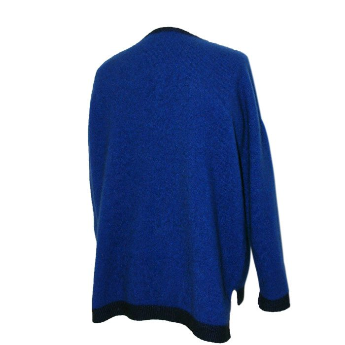 Possum Merino Contrast Tunic in Royal Blue Back
