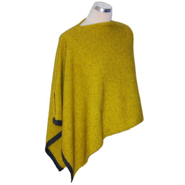Possum Merino Two Tone Poncho in Golden