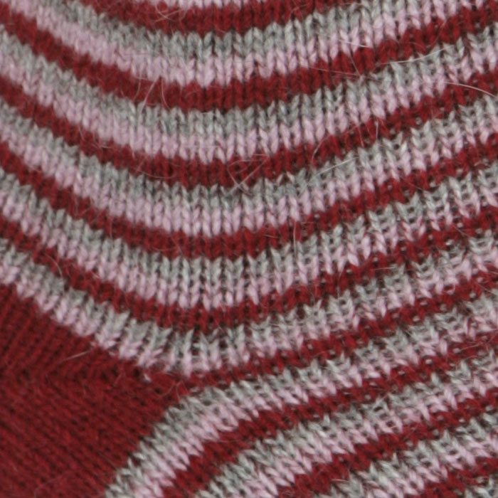 Native World Possum Merino Ladies Fine Stripe Ladies Socks in Berry Detail