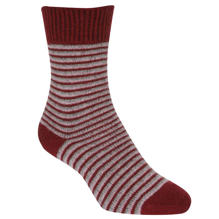 Native World Possum Merino Ladies Fine Stripe Ladies Socks in Berry