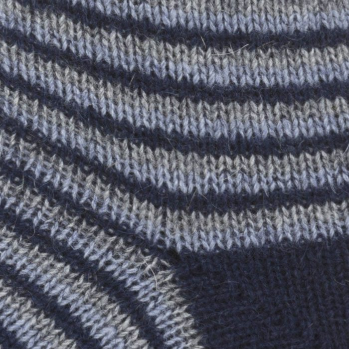 Native World Possum Merino Ladies Fine Stripe Ladies Socks in Twilight Detail