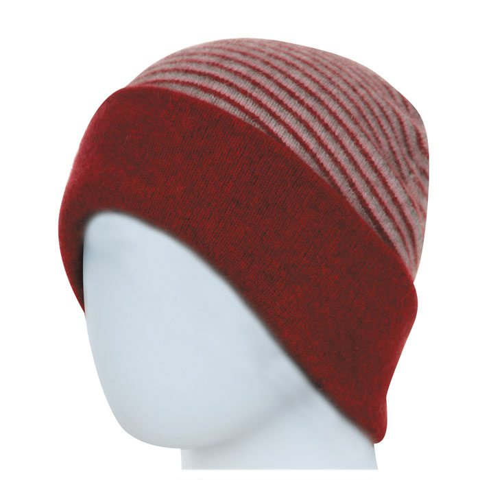 Native World Possum Merino Reversible Beanie Hat in Berry Striped