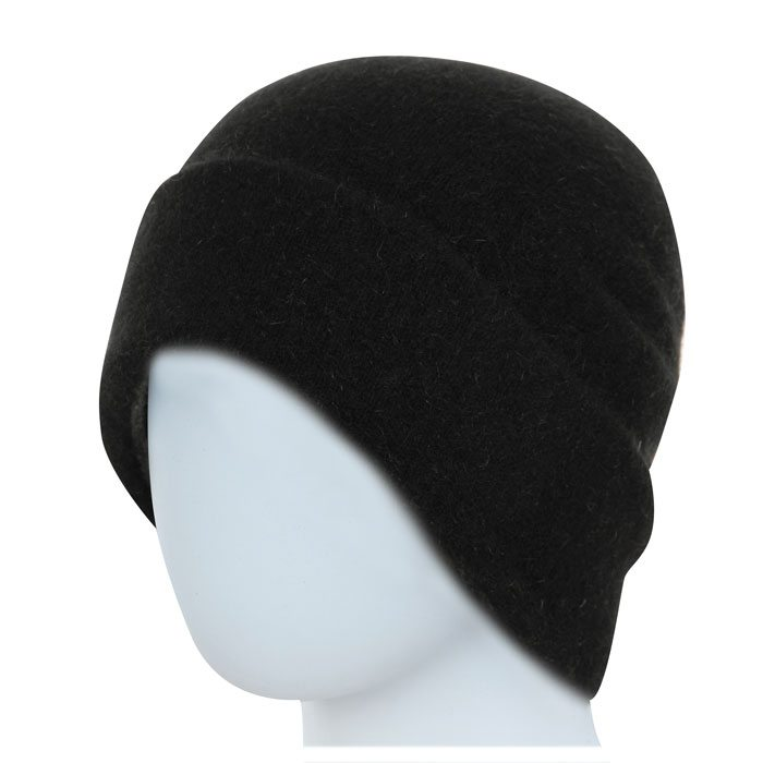 Native World Possum Merino Reversible Beanie Hat in Black Plain
