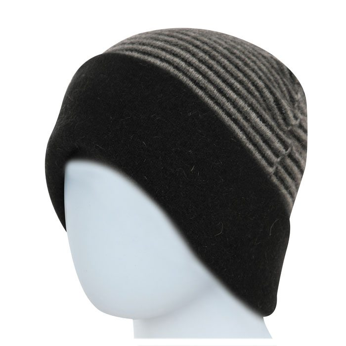 Native World Possum Merino Reversible Beanie Hat in Black Striped