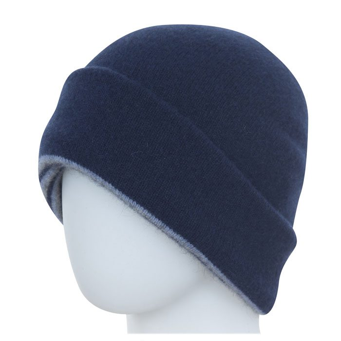 Native World Possum Merino Reversible Beanie Hat in Twilight Plain