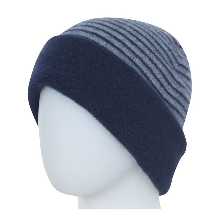 Native World Possum Merino Reversible Beanie Hat in Twilight Striped