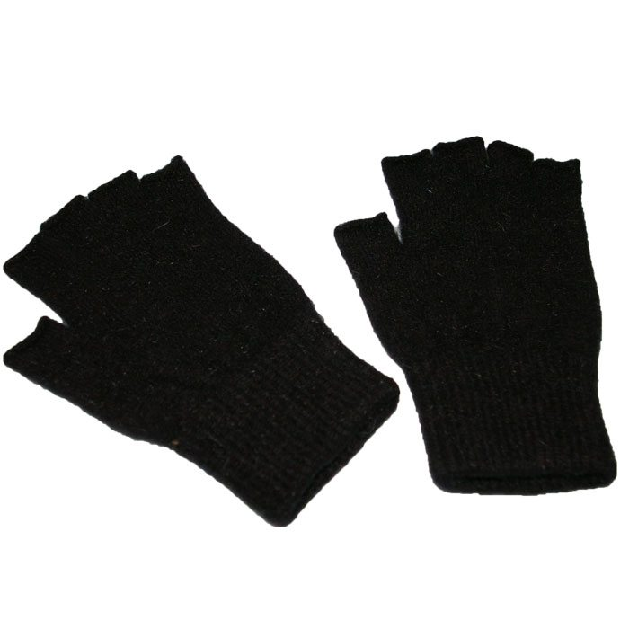 Possum Merino Fingerless Gloves in Black