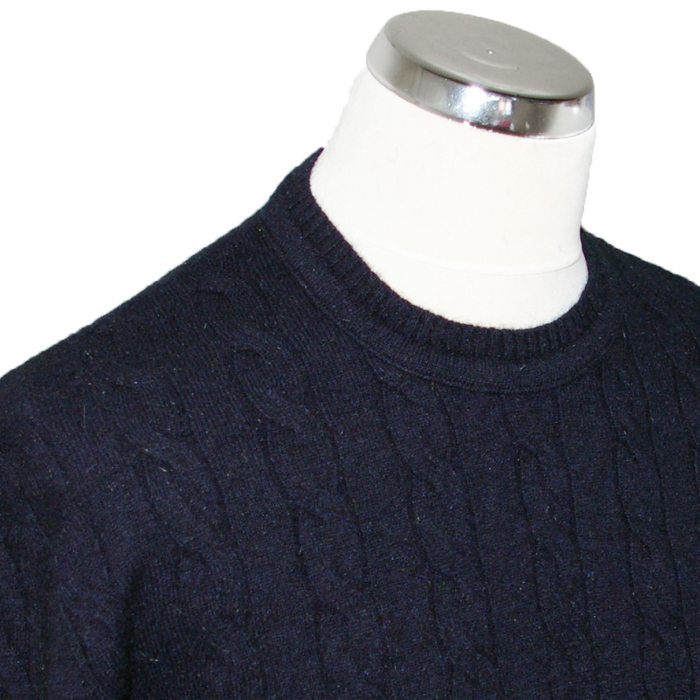 Native World Cable-knit Crew Neck in Ink Detail