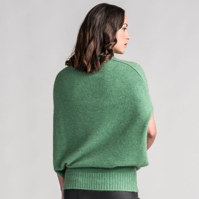 Merino Mink Cape in Aloe Back