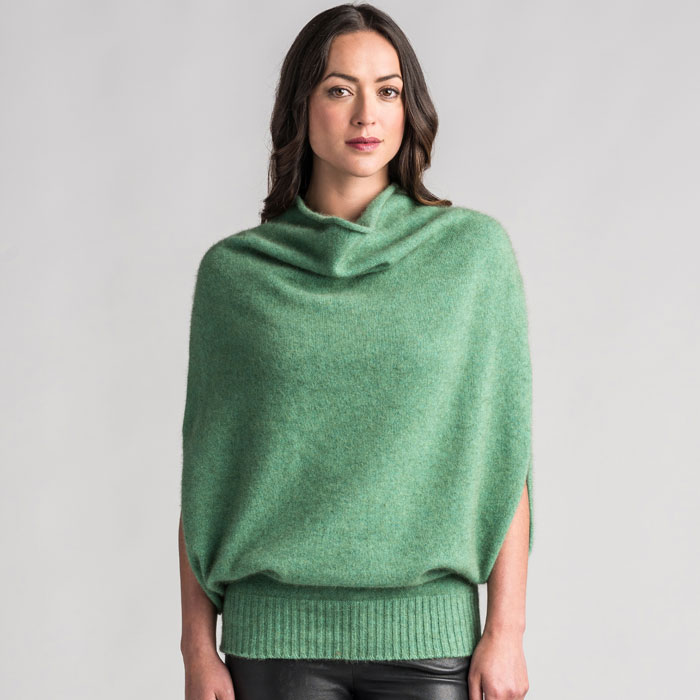 Merino Mink Cape in Aloe Front