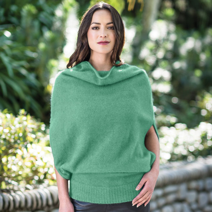 Merino Mink Cape in Aloe Lifestyle
