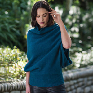 Merino Mink Cape in Crevasse Lifestyle