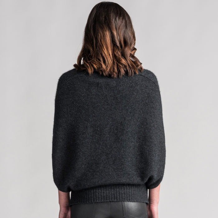 Merino Mink Cape in Graphite Back