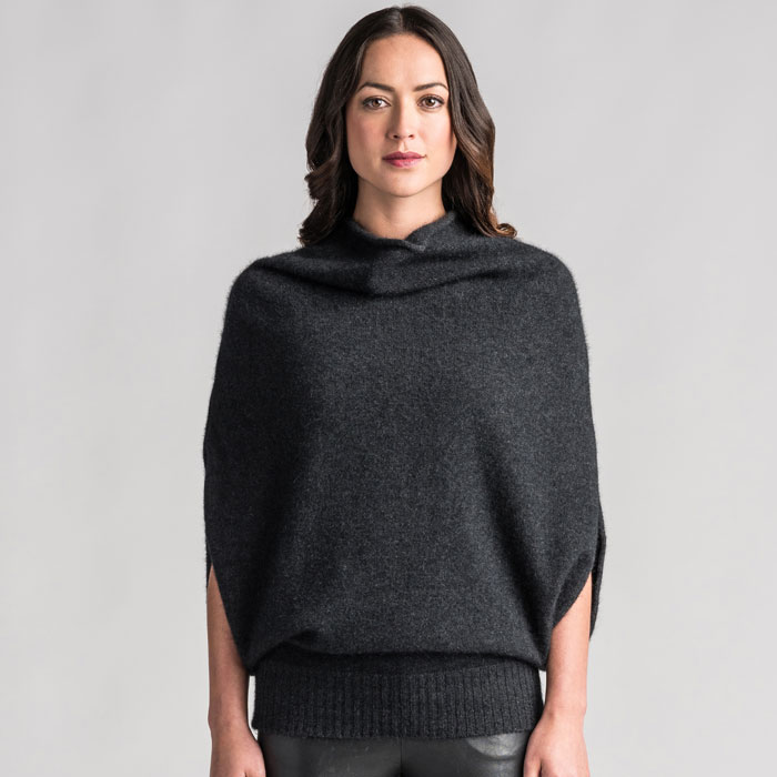Merino Mink Cape in Graphite Front