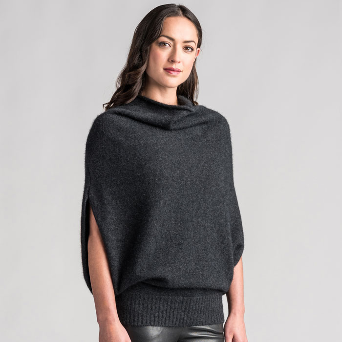 Merino Mink Cape in Graphite Side