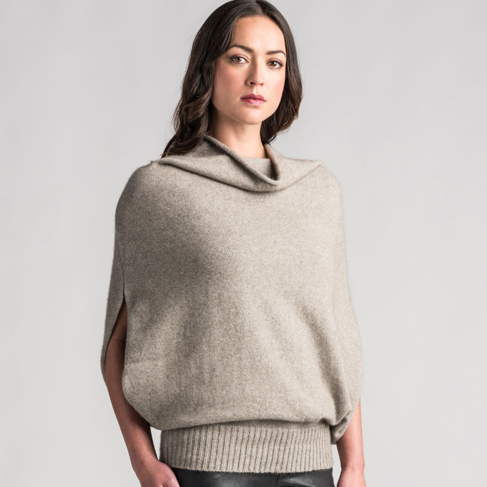 Merino Mink Cape in Stone Side