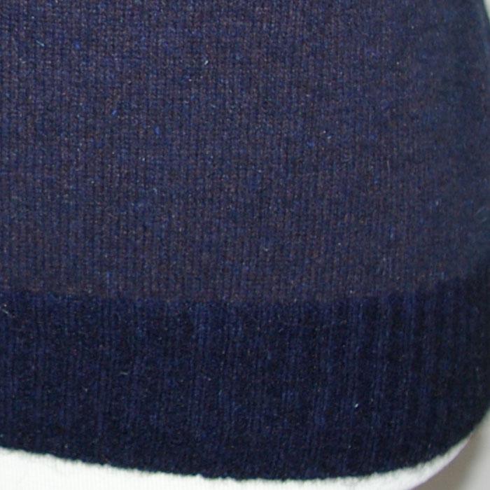 Possum Merino Jacquard Sleeveless V Neck in Morepork Detail