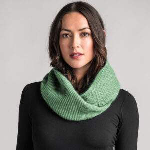 Possum Merino Textured Loop Scarf in Aloe