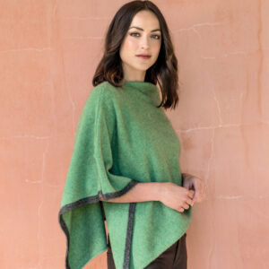 Possum Merino Two Tone Poncho in Aloe Lifestyle