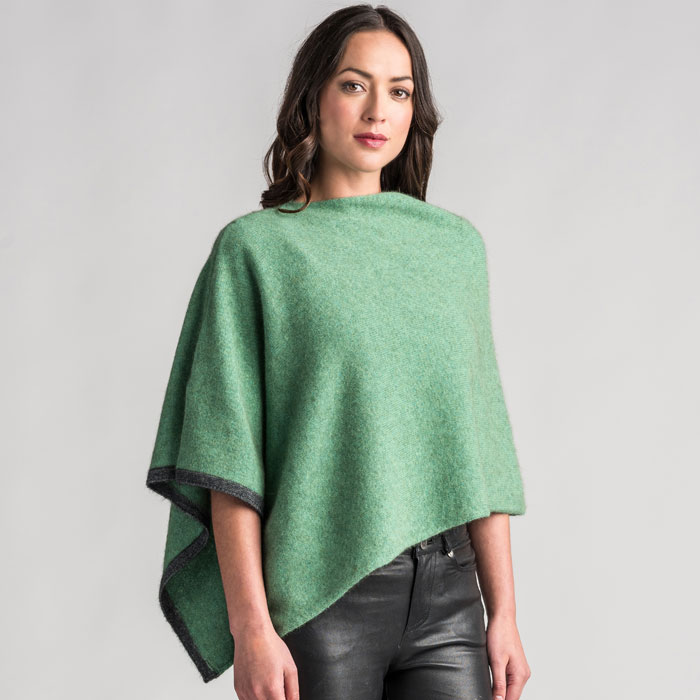 Possum Merino Two Tone Poncho in Aloe