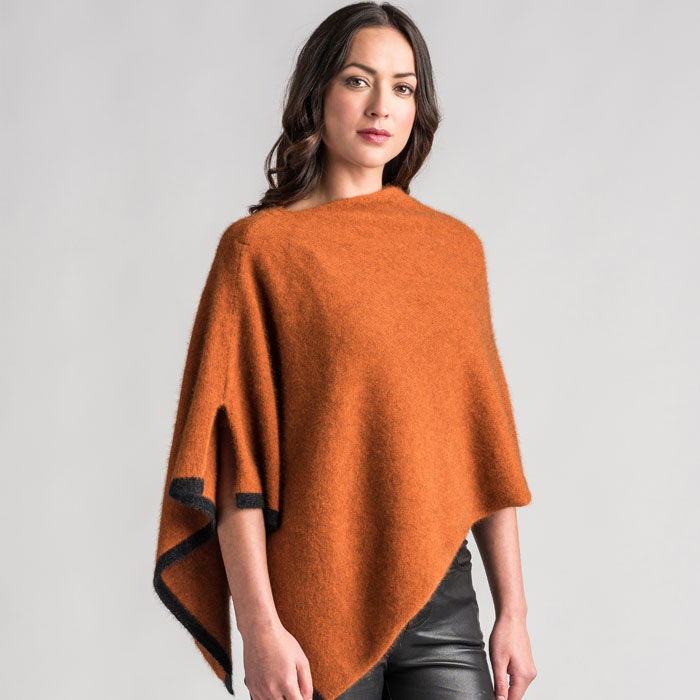 Possum Merino Two Tone Poncho in Paprika