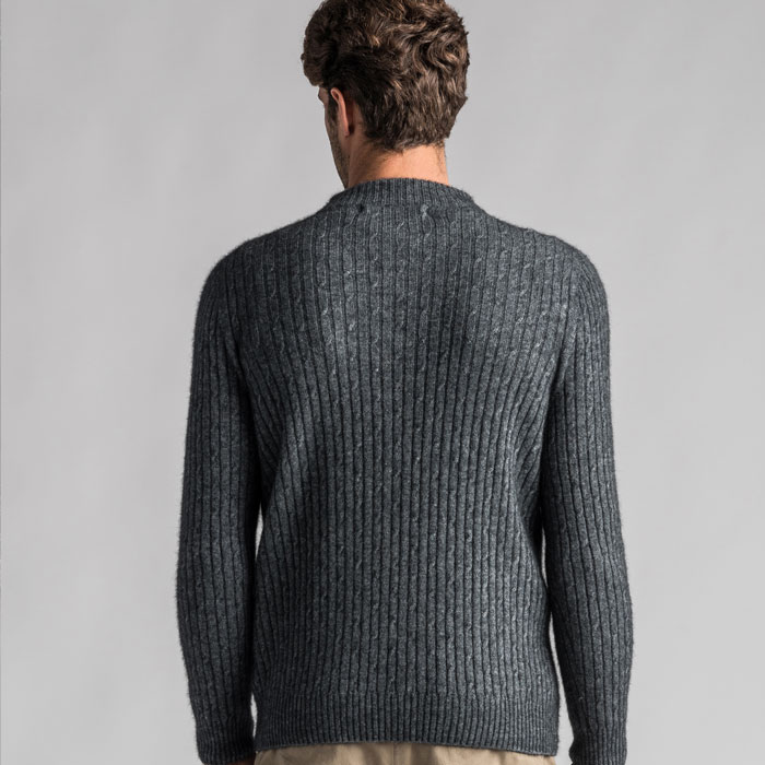 Merino Mink Cable Knit Half Zip Jumper in Slate Back