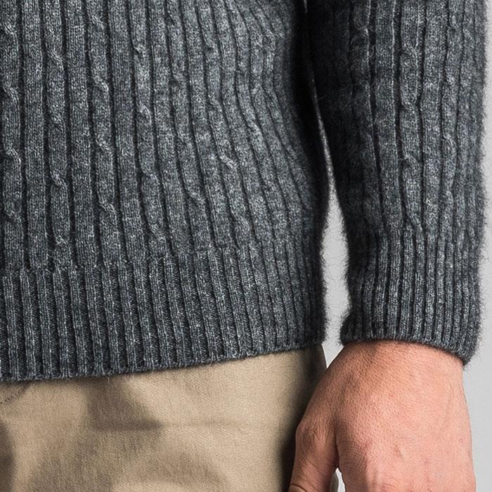 Merino Mink Cable Knit Half Zip Jumper in Slate Cuff Detail