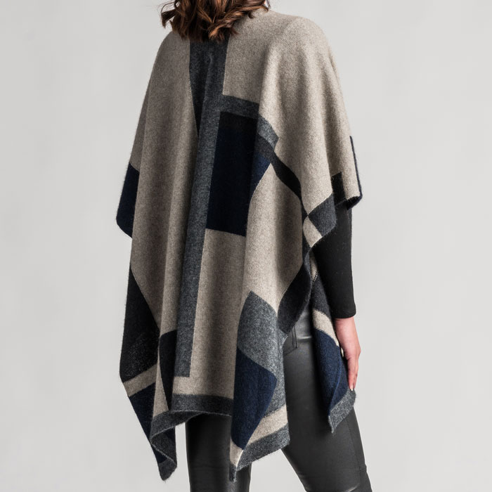 Merino Mink Empress Resort Wrap in Stone Multi Back