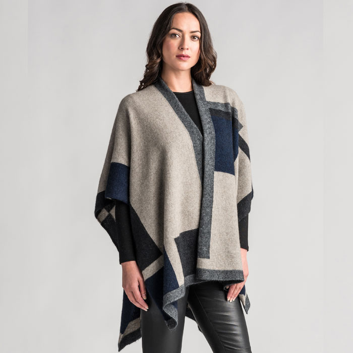 Merino Mink Empress Resort Wrap in Stone Multi