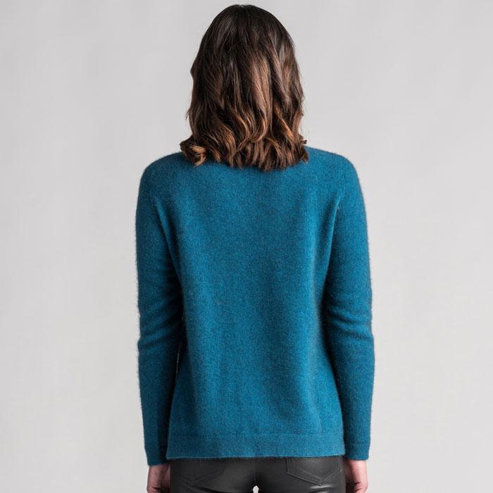 Merino Mink Relaxed Sweater in Crevasse Back