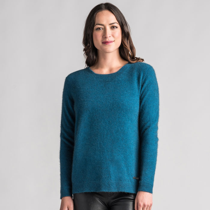 Merino Mink Relaxed Sweater in Crevasse Front