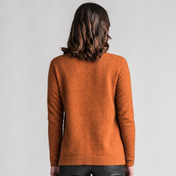 Merino Mink Relaxed Sweater in Paprika Back