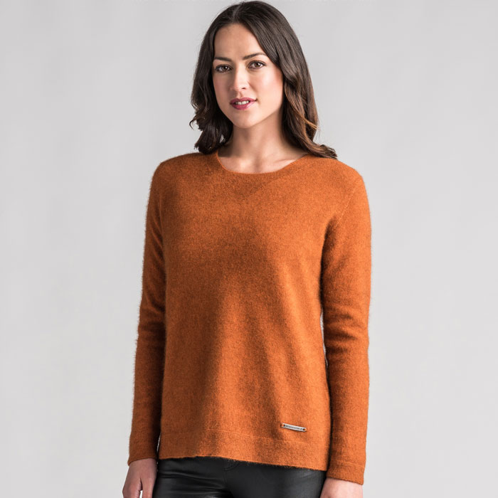 Merino Mink Relaxed Sweater in Paprika Front