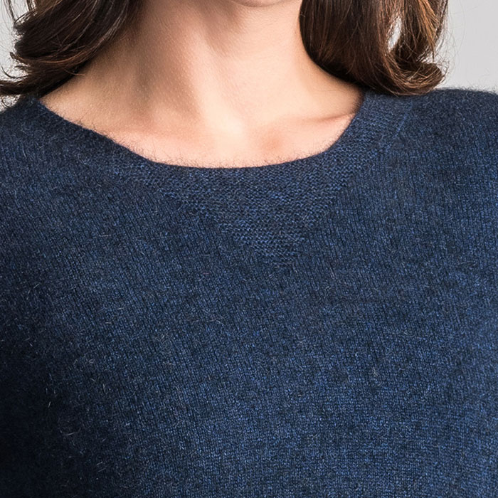 Merino Mink Relaxed Sweater in Zephyr Neck Detail