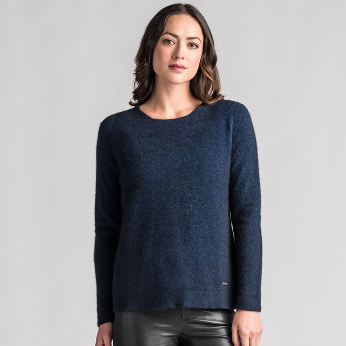 Merino Mink Relaxed Sweater in Zephyr Front