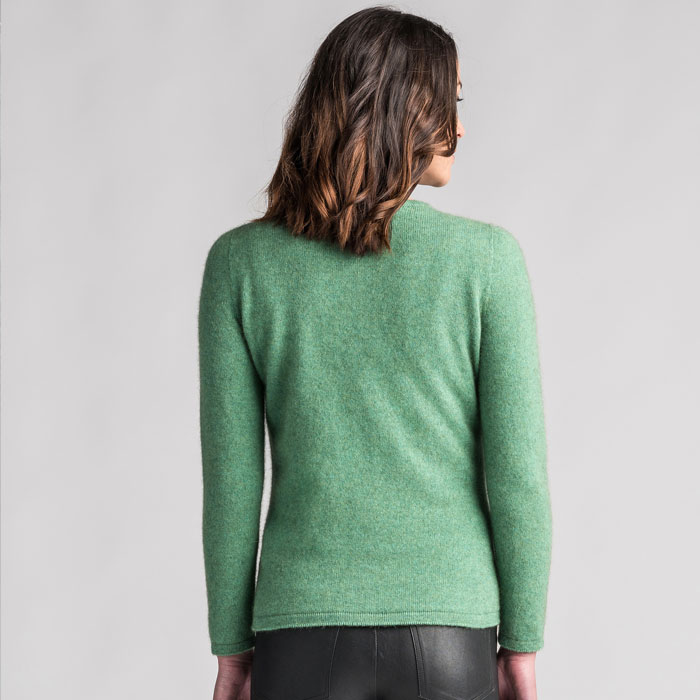 Merino Mink Shell Cardigan in Aloe Back