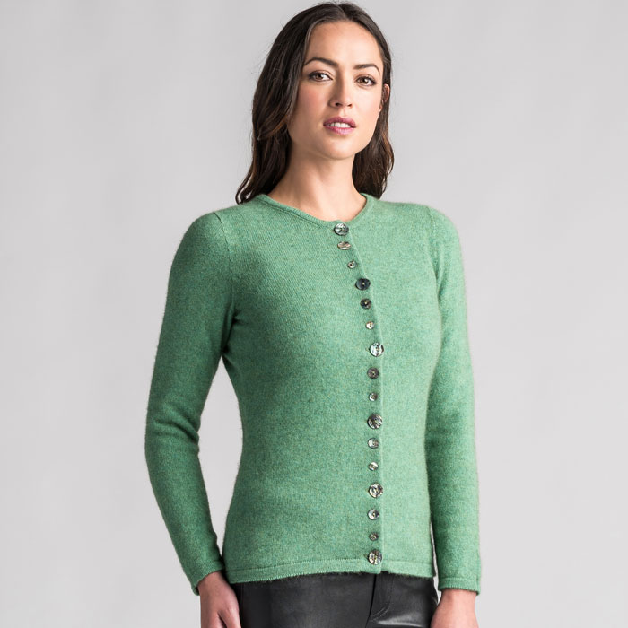 Merino Mink Shell Cardigan in Aloe