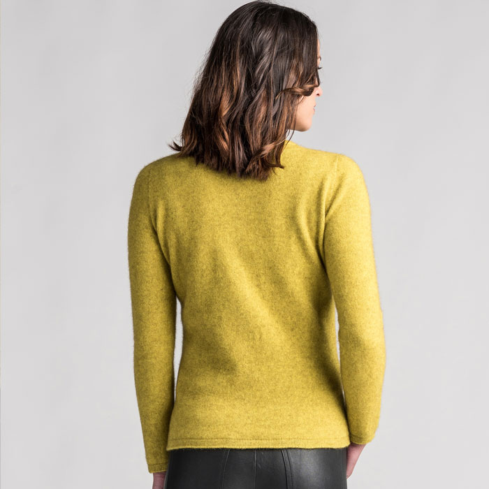 Merino Mink Shell Cardigan in Golden Pearl Back